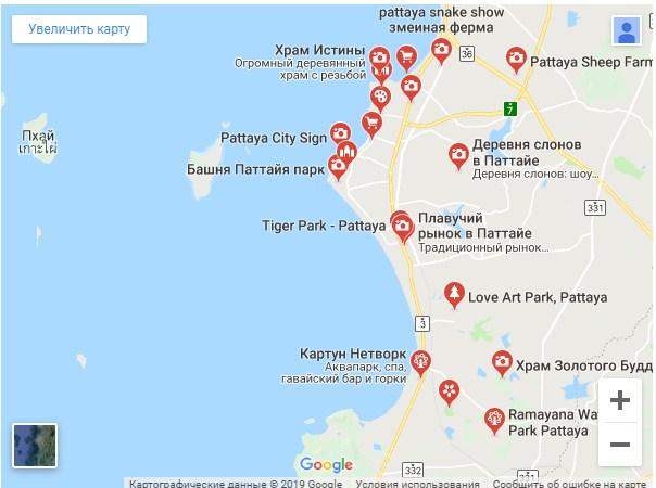 Достопримечательности Паттайи на карте