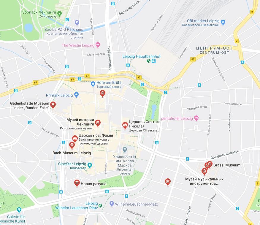 Достопримечательности Лейпцига на карте