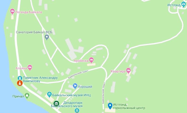 Карта Листвянки с достопримечательностями
